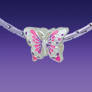 BT1097 tlf - Hot Pink and Purple Butterfly - Triple Silver Plated Large Hole Bead