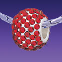 BT1173 tlf - Red Siam Crystal Super Sparkle Barrel - Triple Silver Plated Large Hole Bead