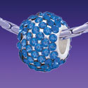 BT1175 tlf - Blue Sapphire Crystal Super Sparkle Barrel - Triple Silver Plated Large Hole Bead