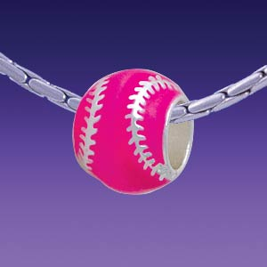 BT1252 tlf - Hot Pink Softball with Silver Stitching - Triple Silver Plated Large Hole Bead