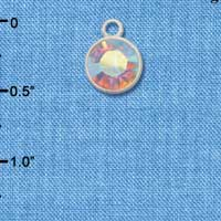 CT1004 tlf - 10mm Clear AB Oktant Crystal Drop - Triple Silver Plated Charm