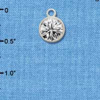 CT1005 tlf - 10mm Clear Oktant Crystal Drop - Triple Silver Plated Charm