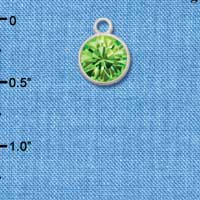 CT1010 tlf - 10mm Lime Green Peridot Oktant Crystal Drop - Triple Silver Plated Charm