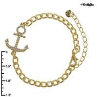 FT1062 tlf - Clear Crystal Anchor - Triple Gold Charm Bracelet (Not for Sale)