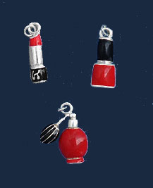 M1111 - Red Lipstick, Nail Polish, Perfume - Scrapbook Charm Set