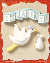 S1002 - It's A Boy - Baby - Flat Backed Resin Scrapbook Embellishment Set