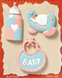 S1003-6 - Baby Bib - Flat Backed Resin Scrapbook Embellishment Set (6 cards per package)
