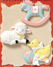S1004 - Baby Ducky - Flat Backed Resin Scrapbook Embellishment Set