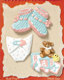 S1005 - Baby Bootie - Flat Backed Resin Scrapbook Embellishment Set