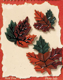 S1096-6 - Fall Leaves - Flat Backed Resin Scrapbook Embellishment Set (6 cards per package)
