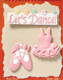 S1109 - Let's Dance Ballet - Flat Backed Resin Scrapbook Embellishment Set