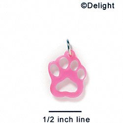A1033 tlf - Small Paw - Hot Pink - Acrylic Charm