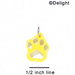 A1039 tlf - Small Paw - Yellow - Acrylic Charm