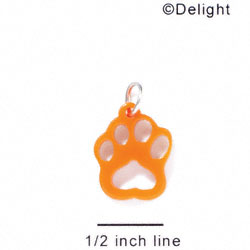 A1041 tlf - Small Paw - Orange - Acrylic Charm