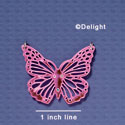 A1004 tlf - Large Cut Out Butterfly with Crystals - Mirror Pink - Acrylic Pendant