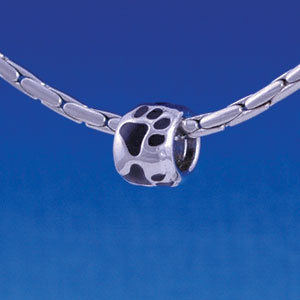 B1122 tlf - Silver Bead with Black Paw Prints - Im. Rhodium Large Hole Beads