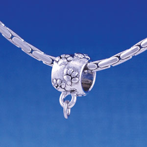 B1150 tlf - Silver Paw Print Barrel Bail with Loop - Im. Rhodium Large Hole Beads