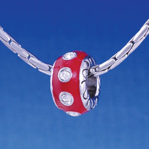 B1156 tlf - Large Spacer - Red with Swarovski Crystals - Im. Rhodium Large Hole Beads