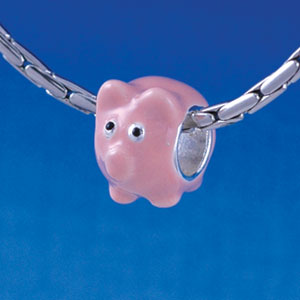 B1332 tlf - Enamel Pink Pig - Silver Plated Large Hole Bead