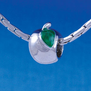 B1350 tlf - Silver Apple with Green Leaf - Im. Rhodium Plated Large Hole Bead