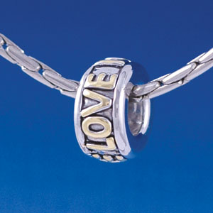 "B1398 tlf - Gold ""Love"" on Silver - Im. Rhodium & Gold Plated Large Hole Bead"