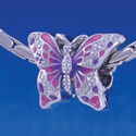 B1217 tlf - 2-D Hot Pink and Purple Butterfly - Im. Rhodium Large Hole Bead