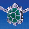 B1219 tlf - Green Enamel 2-D Turtle - Im. Rhodium Large Hole Bead