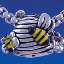 B1309 tlf - Mini Bees on Beehive - Im. Rhodium Plated Large Hole Bead