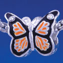 B1319 tlf - Orange Monarch Butterfly with Swarovski Crystals - Silver Plated Large Hole Bead