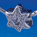 B1323 tlf - Beaded Star of David - Im. Rhodium Plated Large Hole Bead