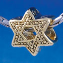 B1324 tlf - Beaded Star of David - Gold Plated Large Hole Bead