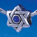 B1325 tlf - Star of David with Blue Swarovski Crystal - Im. Rhodium Plated Large Hole Bead
