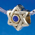 B1326 tlf - Star of David with Blue Swarovski Crystal - Gold Plated Large Hole Bead