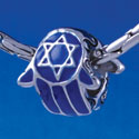 B1327 tlf - Blue Hamsa Hand - Im. Rhodium Plated Large Hole Bead