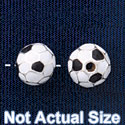 B1433 tlf - 8mm Soccer ball - Silver Plated Bead