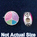 B1440 tlf - 10mm Translucent Multicolored Peace Sign - Silver Plated Bead