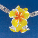 B1456 tlf - Hot Yellow & Orange Plumerias - Silver Plated Large Hole Beads