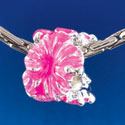 B1467 tlf - Hot Pink Hibiscus Flowers - Silver  Plated Large Hole Bead