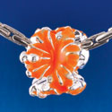 B1468 tlf - Hot Orange Hibiscus Flowers - Silver  Plated Large Hole Bead