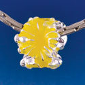B1469 tlf - Hot Yellow Hibiscus Flowers - Silver  Plated Large Hole Bead