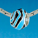 B1672 tlf - Wide Hot Blue Zebra Print Band - Silver Plated Large Hole Bead
