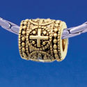 B1728 tlf - Greek Cross Dot Pattern - Gold Plated Large Hole Bead