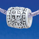 B1729 tlf - Greek Cross Dot Pattern - Im. Rhodium Plated Large Hole Bead