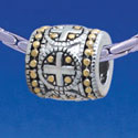B1730 tlf - Greek Cross Dot Pattern - Im. Rhodium & Gold Plated Large Hole Bead