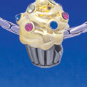 B1750 tlf - Two Tone Cupcake with Swarovski Crystal Sprinkles - Im. Rhodium & Gold Plated Charm