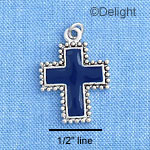 C1199 - Navy Blue Cross with Beaded Border - Silver Charm