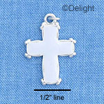 C1207 - White Enamel Cross with Simple Border - Silver Charm