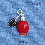 C1410 - Perfume Bottle - Red Black - Silver Charm