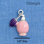 C1411 - Perfume Bottle - Pink Purple - Silver Charm