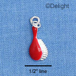 C1412 - Hair Brush - Red - Silver Charm